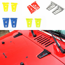 2PCS ABS Auto Engine Hood Hinge Cover Trim Accessories for Jeep Wrangler 2007 up
