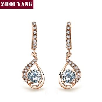 Calidad superior de la CZ Rose/el Oro Blanco Plateó Los Pendientes de Gota de Cristal Austriaco Al Por Mayor ZYE685 ZYE686