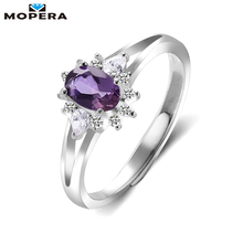 Mopera 925 Sterling Silver Jewelry Resizable Natural Amethyst Rings For Women Gemstone Fine Jewelry Engagement Wedding Ring(China)