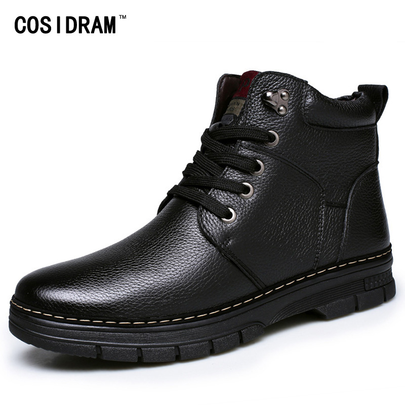 New 2016 Winter Split Leather Men Boots Warm Plush...