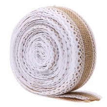 5m/Roll Linen Handmade Christmas Crafts Jute Burlap Band Ribbon Roll+white Lace Trim Edge Rustic Wedding Decoration Party Supply(China)