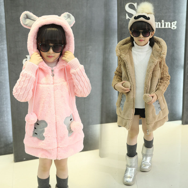 Hooded Wool Jackets For Girls Thick Tops Cute Bear Coats 3 6 8 9 10 11 Years Children Clothing 2016 Autumn Girls Outerwear<br>