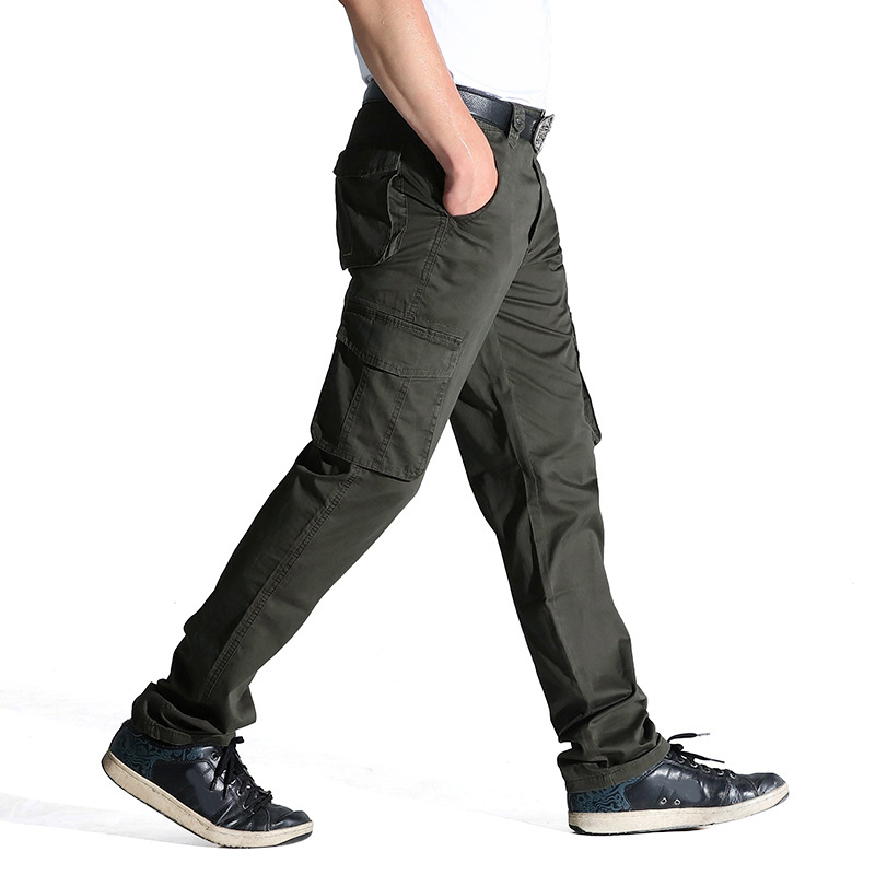 2017 Summer Autumn Casual Men Classic Cargo Pants 100% Cotton Solid Pocket Long Male Trousers 2 Colors Style Size 31-44(China)