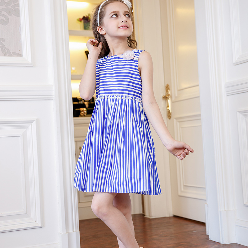 Blue White Striped girls clothes With Flower vestidos trolls kids clothes for girls roupas infantis menina moana wedding clothes<br>