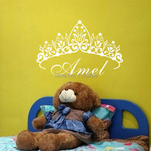 Personalized Any Name With Girl Crown Large Wall Decal Customer-made Princess Wall Stickers Kids Rooms Decor
