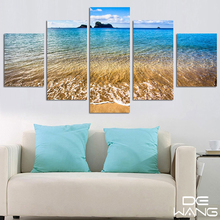 5 Pieces Canvas Wall Art Paintings Blue Sky Sea Wave Landscape Mountains Pictures for Living Room Home Decor Drop-shipping
