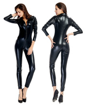 Buy Catwomen Faux Leather latex Zentai Catsuit Smooth Wetlook Jumpsuit Front Zipper Elastic PU Full Bodysuit Playsuit catwoman adult