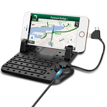 Universal Mobile Phone Car Phone Holder For GPS iPad iPod iPhone Samsung XiaoMi Mi HuaWei Phone Car Holder Two Head Cable