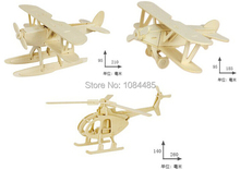 3PCS/Lot DIY 3D Wooden Puzzles Airplane Helicopter Model Assemble Kits IQ Toys for Children and Adults