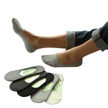 men summer bamboo fibre non-slip invisible boat socks male low sock slippers 10pairs/lot(China)