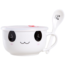 Cartoon ceramic bowl with cover porcelain handle household noodles bowls(China)