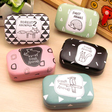 LIUSVENTINA cute forest animals fox wild boar Hedgehog Woodpecker companion box leather box contact lens case lenses container