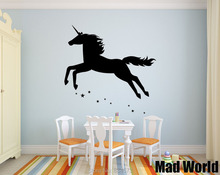 Mad World-Animal Unicorn Girls Stars Mythical Wall Art Sticker Wall Decal Home DIY Decoration Removable Room Decor Wall Stickers