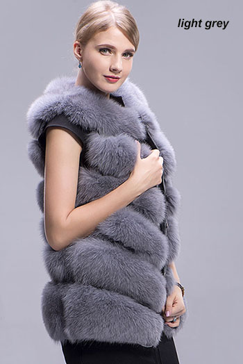 fox fur vest 6 lines grey link
