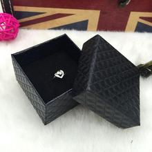 5*5*3.8cm 20pcs Small Black Jewelry box wholesale jewelry gift box packaging classic diamond ring earrings packaging paper box(China)