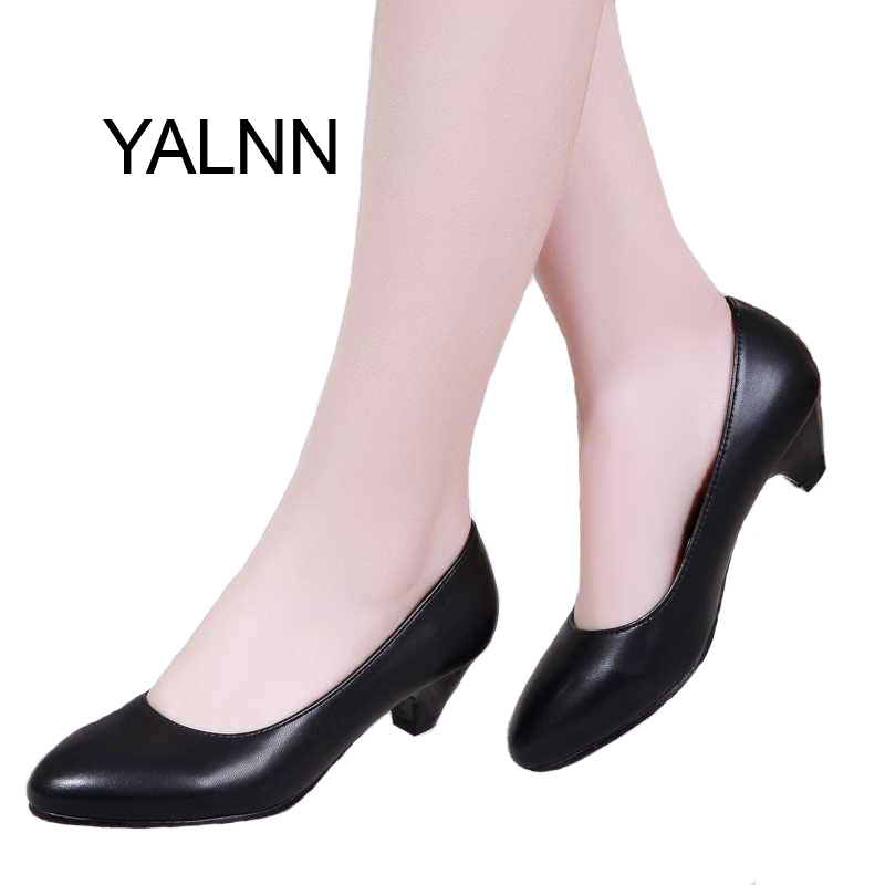 Black Fashion 3CM High Heels Pumps Mature Women Shoes Dress Pointed Toe Slip-on Office Lady Dress Pumps for Girl<br><br>Aliexpress