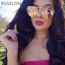 RSSELDN 2017 New Cat Eye Sunglasses Women Vintage Fashion Rose Gold Mirror Sun Glasses Metal Frame Ladies Sun glasses Female