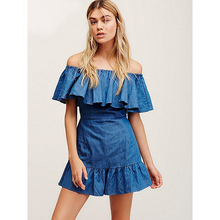 S-L Western style summer rompers 2016 fashion women jean blue jumpsuits sexy ladies bodysuits girls bear shoulder playsuits