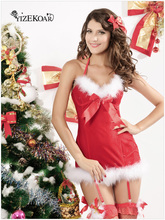 New arrival 2017 Hot Winter Women Party Club Red Christmas Costumes Sexy Butterfly Santa Costumes Adult New Year Clothes LC7199(China)