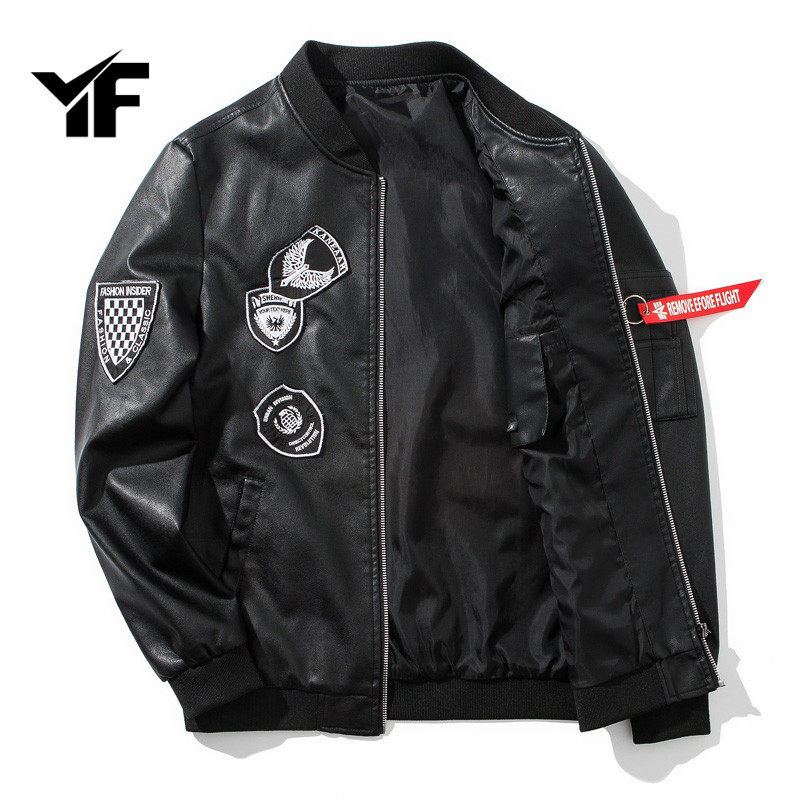 YF 2018 Spring Autumn Men Faux Soft Leather Jacket Long Sleeve Coat Zipper Design Motorcycle PU Jacket