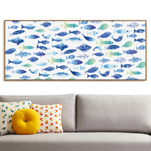 Nordic Mediterranean Fresh Blue Fish Banners Canvas Painting Art Print Poster Picture Wall Paintings Home Decor Wall Decoration