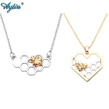 2017 Ayliss Alloy Gloden Bee Necklace Heart Shaped Honeycomb Necklace Charmming Cute Bee Necklace For Mother's Day/Birthday Gift