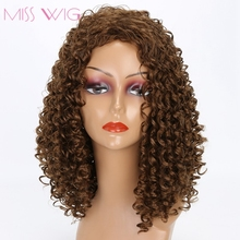 MISS WIG Brown Kinky Curly Wig  Syntehtic Short Wigs For Black Women Afro Wig None Lace African Hairstyle