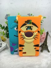 For huawei ascend mate 7 mate7 capa Funda Shell Luxury 3D Cute Cartoon Soft Cat Sulley Tiger Silicon Cover Phone Case
