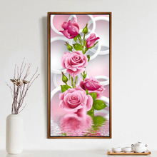 HOT 30*56cm 5D Diy Diamond Painting Cross Stitch Pink Rose Diamond Embroidery Flower Vertical Print Rubik's Cube Drill Wholesale(China)