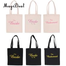 MagiDeal Wedding Party Bridal Tote Bag Bridesmaid Hen Party Gift Bag The Bridesmaid/Bride/Bride to Be Candy Bag Favors Gifts(China)