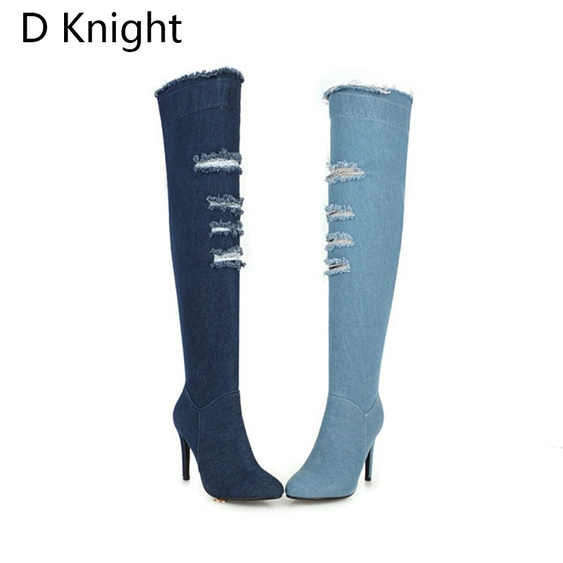 2018 Winter Boots Sexy Ponited Toe Women\`s Over The Knee Boots Fashion Denim Blue thigh High Boots Large Size 48 High Heels Boot (3)