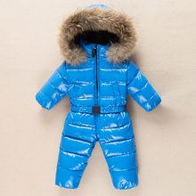 Duck down boys snowsuit fur baby romper winter overalls thick warm rompers newborns clothes toddler girls one-pieces coat