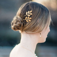Vintage gold Metal Leaves Feather Hair Clips Barrettes Hairpin Wedding Hair Jewelry for women Brincos nice gift