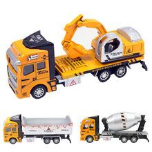 1:24 Pull Back Alloy Car Engineering Vehicles Construction Car Truck Excavators Toy Model for Children Nice Gift Random Type