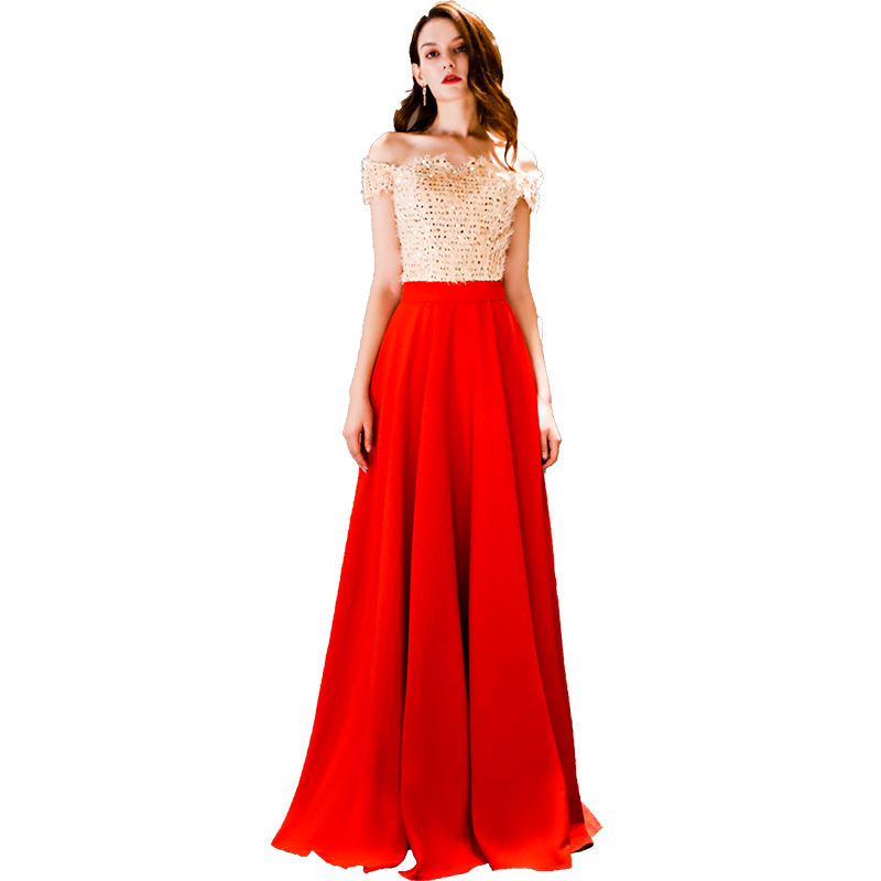 Elegant Sequined Red Evening Dresses 2019 Long for Women Plus Size A line Wedding Party Prom Dresses Formal Women Dresses Long