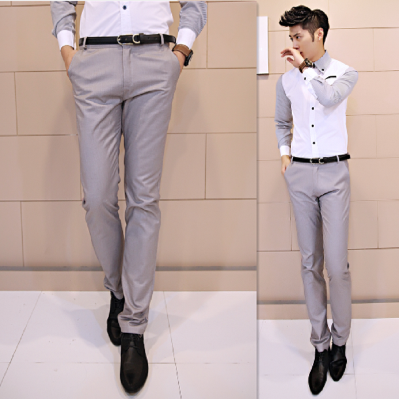 Free Shipping Men S Western Style Slim Fit Solid Color Straight