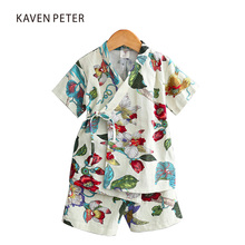 Printed pajamas girls sleepwear pajamas short sleeve top pants 2pcs children pajamas set kids House coat bundle pajamas boy