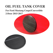 Carbon Fiber Car Oil Gas Fuel Tank Cap Protector Pad Cover Sticker for Ford Mustang Coupe Convertible 2-Door 2015-2017(China)