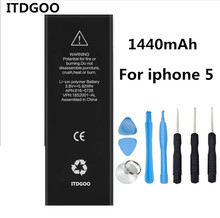 New 1440mAh 3.8V replacement Internal Li-ion battery flex cable for iPhone 5 5G + Free Tools