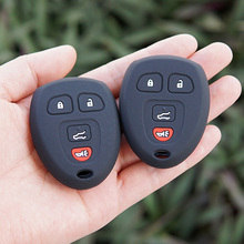 Silicone key fob cover case cap shell For GMC Yukon Buick Enclave Saturn Chevy Tahoe Traverse Suburban Remote keyless protect