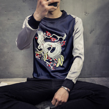 men Long sleeve T shirt new spring family name wind wind embroidery shopkeeper crane Sassafras sleeve T-shirt