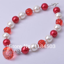 Top Sweet heart red bubblegum beaded kids chunky babies necklace jewelry wholesale