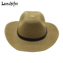 Western cowboy hat male ladies tide beach cap sunscreen big summer small hat for Gentleman Cowgirl Jazz Church Cap With straw