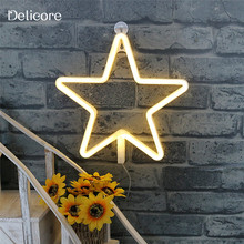 DELICORE 2017 New Neon Star Shaped Nightlight Battery/ USB Power Beer Bar Home Christmas Party Decor Warm White LED Light S176