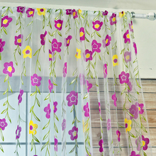 Fashion Floral Tulle Voile Rome Window Scarf Valances Drape Panel Sheer Curtains