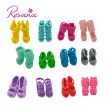 Random Set of Mix 12 Pairs of Different Fashion Dolls Shoes High Heels Sandals Boots For Barbie Dolls Outfit Dress Toy Xmas Gift(China)