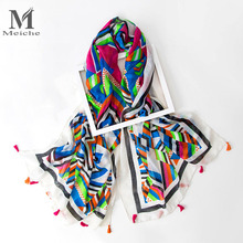 MEICHE Print Tassel Oversize Blankets Square Scarf Russian Women Retro Style Autumn Winter Warm Shawl Colorful Silk scarf(China)