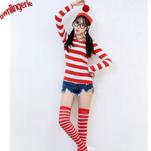 Cute Uniform Clubwear Student Party dress Underwear Costume UK carton character Where's Wally cosplay stocking, glasses,hat w19(China)