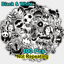 New 100 PCS Black and White Sticker Skateboard Graffiti Decal Toy Laptop Bicycle Motorcyle Car Stying Doodle DIY Cool Stickers(China)