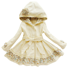 Autumn Coat Girls Coat with Waistband 2017 Brand Fille Floral Clothing Children Long Style Outwear for Baby(China)